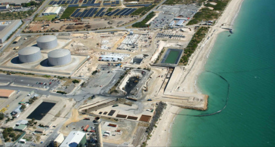 "Desalinization plant, Perth Austrailia: ""Perth Seawater Desalination Plant in Western Australia feeds 45 gigaliters of drinking water a year (130 million liters a day) into the state's integrated water system.: Image: ABB.com"