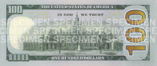 New U.S. $100 note: back