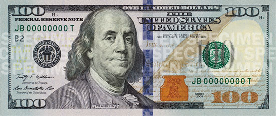 New U.S. $100 note: front