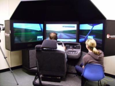 The study used this sophisticated driving simulator to track the data.  Photo credit: Nate Medeiros-Ward