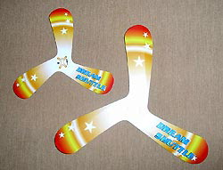 Examples of the boomerangs Doi will test on the ISS
