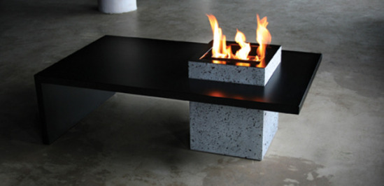 Coffee table with lava base fire place.: ©Secret North