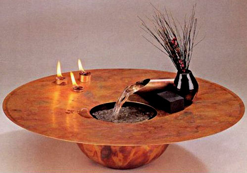 Nayer Kazemi Fire and Water Table Fountain