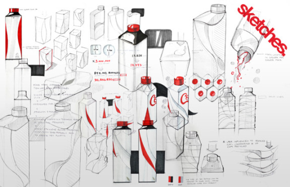 Eco Coke Bottle, designer sketches: ©Andrew Kim
