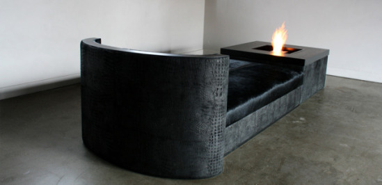 Sofa made of skins with fire table.: ©Secret North
