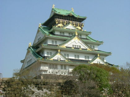 Osaka Castle, resplendent in white, green &amp;amp; gold