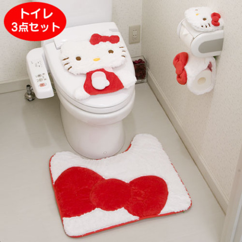 pretty up your potty with the hello kitty toilet set. Black Bedroom Furniture Sets. Home Design Ideas