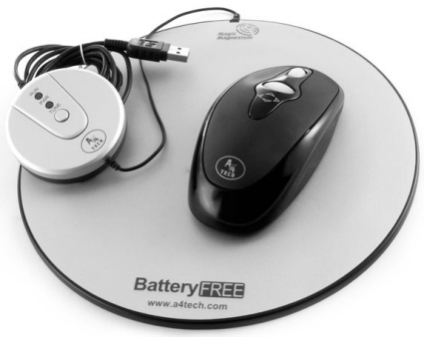 "A4 Tech's Battery Free wireless mouse with ""smart"" mouse pad"