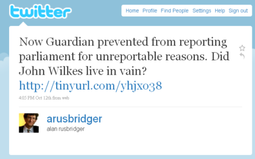 Alan Rusbridger Tweet regarding gag order