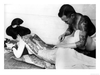 Original painted lady... tattoo photo from early 20th century