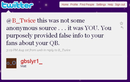 Angry tweet from NFL fan