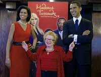 Dr Ruth & 'waxed' Obamas at Madame Tussaud's