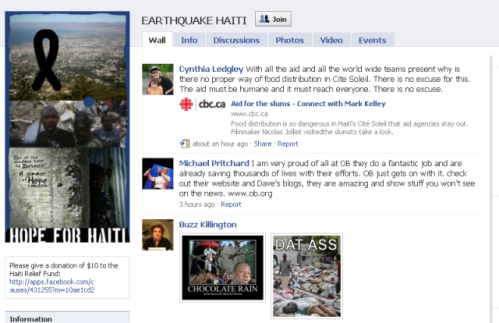 Earthquake Haiti on Facebook