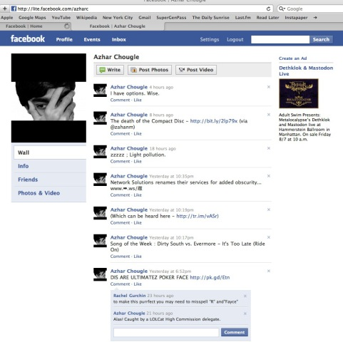 Facebook Lite Proposed Screen Shot