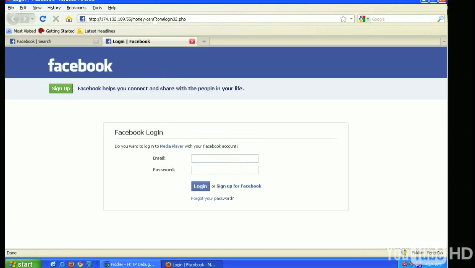 Facebook Sign-Up Screen for Malware