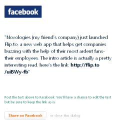 Flip.to sample Facebook status update