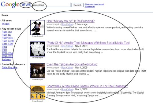 Google's News Results for Ron Callari - November 5, 2009