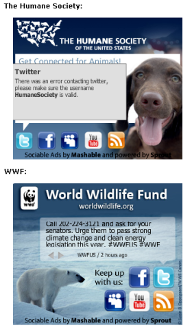 Humane Society and World Wildlife Fund Ads