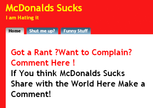McDonalds Sucks Web site