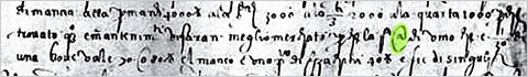 The @ symbol used in 1536 in a letter from an Italian merchant: via MoMA