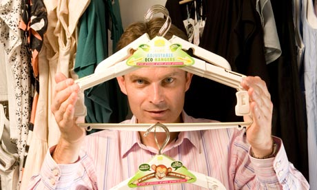 Hanger4Life Adjustable Eco Hanger with inventor, Nick Lewis: ©Guardian.co.uk, photograph by Richard Saker