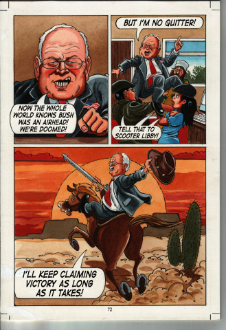 "Page from ""Crude Behavior"" featuring Dick Cheney aka 'Darth Vadar'"