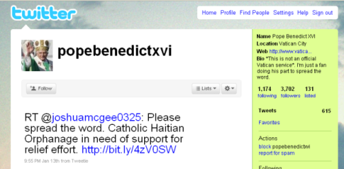 Pope Benedict XVI unofficial Twitter account