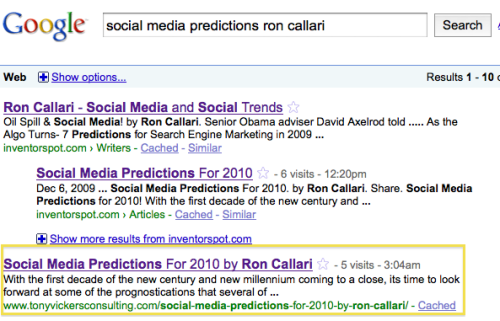 Ron Callari's  & Tony Vickers' SERPs