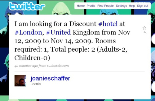 Sample Twihotels tweet