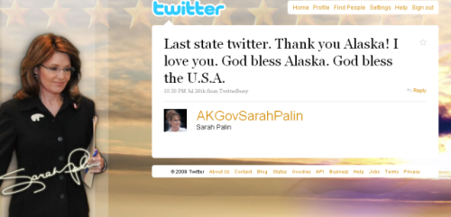 Sarah Palin&#039;s last tweet as Governor