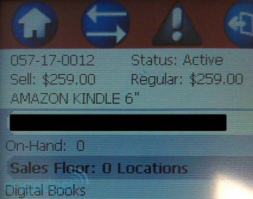 Kindle /Target Product Delivery screen shot
