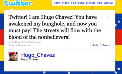 Hugo Chavez Impersonator tweet