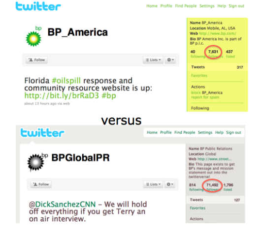 BP_America vs PBGlobalPR Twitter Accts