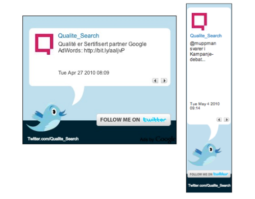 Qualité Search Marketing Twitter Ads via Google Adsense