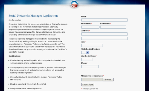 Obama&#039;s Social Networks Manager position application