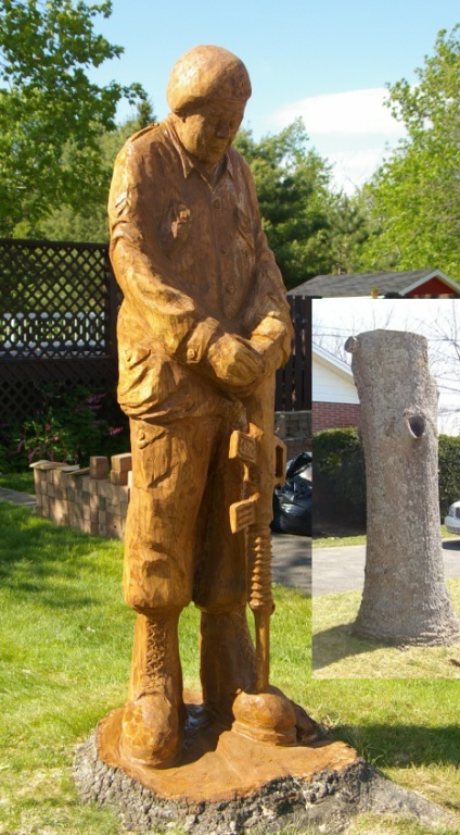 Soldier - Carved from White Oak Tree