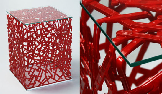 Studio verissimo recycles plastic spoons into furniture for Article on best out of waste
