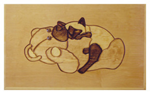 Cat And Teddy Bear Engraving