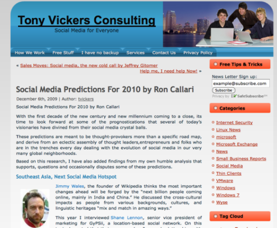 Tony Vicker's Page with Ron Callari's content