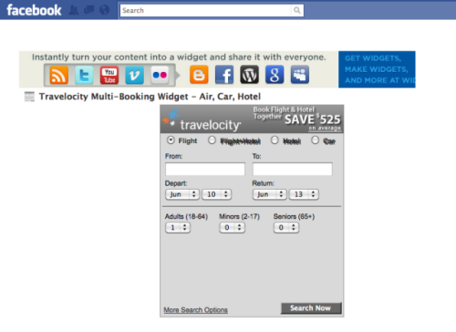 Travelocity booking engine on Facebook