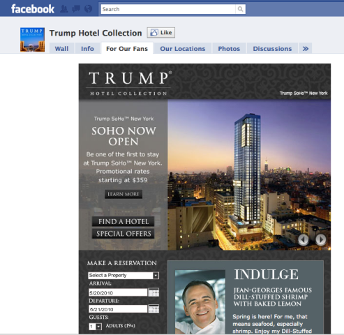 Trump Hotels booking widget on Facebook