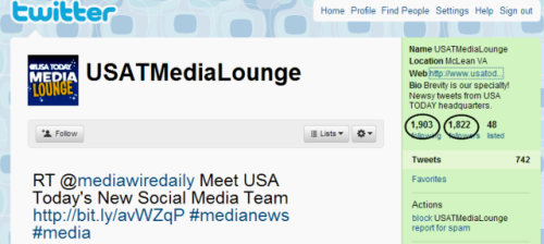 USA Social Media Lounge Twitter account