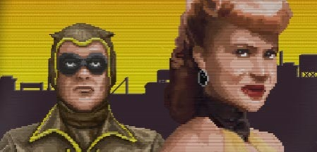 Nite Owl I and Silk Spectre I via 1980s graphics technology--gotta love it!