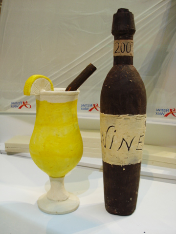 Wine Bottle and Glass Made of Chocolate