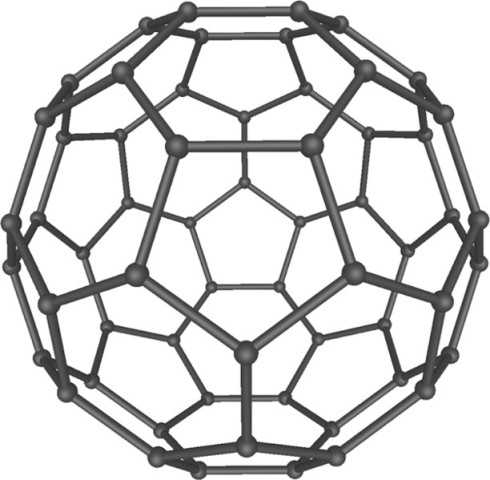 A Buckminsterfullerene C60 molocule.  Pretty, ain't it?