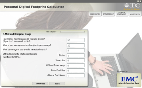 Personal Digital Footprint Calculator