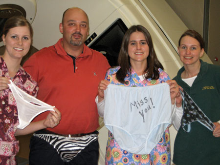 "Communal Underwear: This motely crew on their underwear: Reid's made in Macau zebra striped thong provides just enough support and makes him feel like a real animal.  Janelle and Melissa like that ""barely there"" comfort they find in their made in Sri Lanka panties.  Annie en"