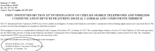 Complaint filed with USITC by Kodak against iPhone & Blackberry