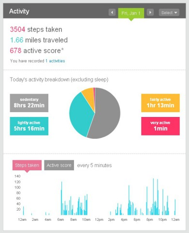 Fitbit Tracker screen shot: ©Fitbit Inc.
