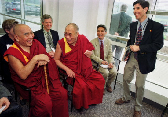 Psychology professor Richard Davidson, right, shares a laugh with the Dalai Lama and Buddhist monk Geshe Sopa: Waisman Center: Photo by Jeff Miller